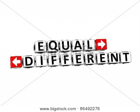3D Words Equal And Different On White Background