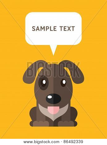 Cute Dog In Flat Design Style With Speach Bubble. Vector Illustration