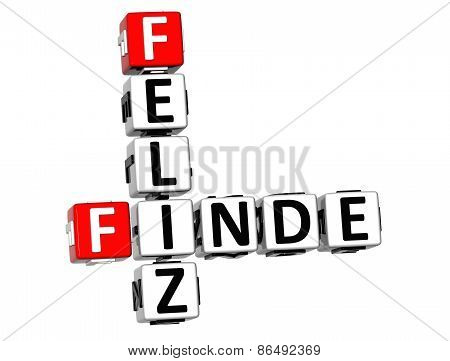 3D Crossword Feliz Finde On White Background
