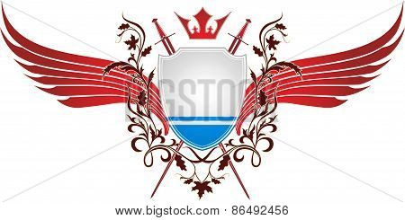Winged angel with crown and flag of the Republic of Altai