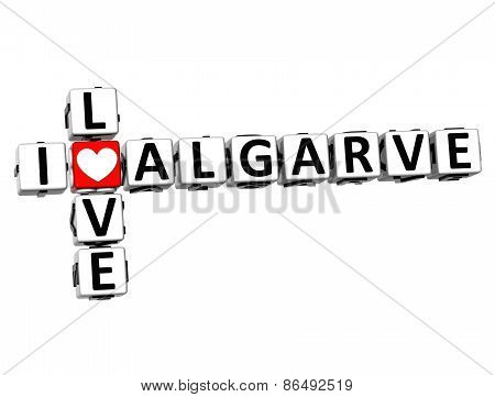 3D Crossword I Love Algarve On White Background