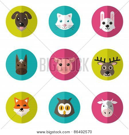 Set Of Cute Animals Icons With Flat Design. Vector Illustration