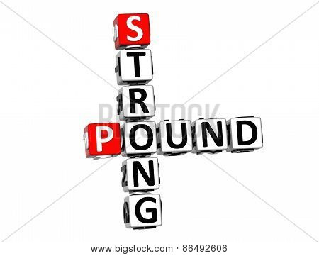 3D Crossword Strong Pound On White Background