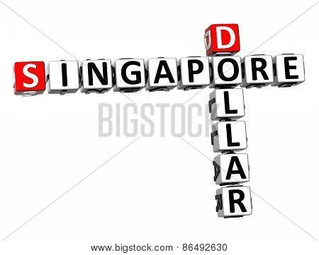 3D Crossword Singapore Dollar On White Background