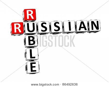 3D Crossword Russian Ruble On White Background