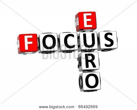 3D Crossword Focus Euro On White Background
