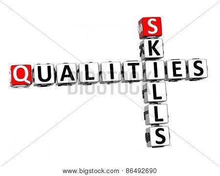 3D Crossword Qualities Skills On White Background