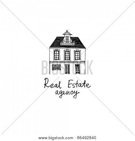 Real estate hand drawn logo template