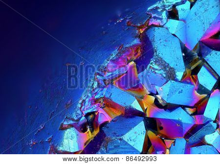 Titanium Aura Crystal Cluster stone at 20x magnification