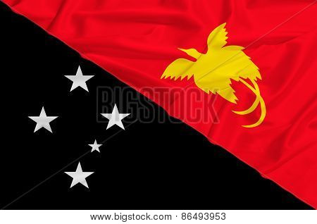 Papua New Guinea Flag On A Silk Drape Waving