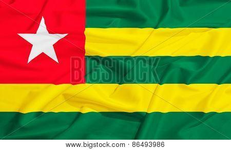 Togo Flag On A Silk Drape Waving