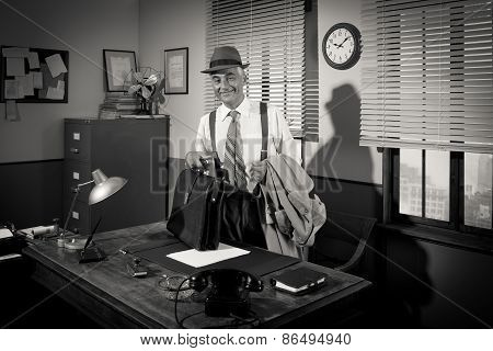 Businessman Arriving At Workplace