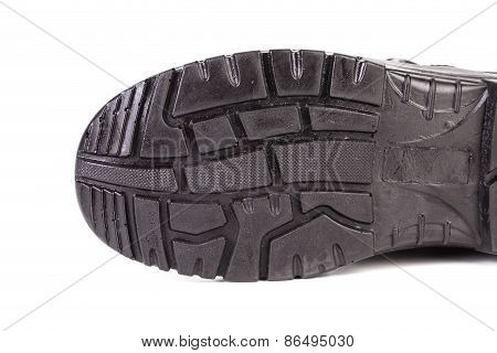 Sole side of rubber boot.