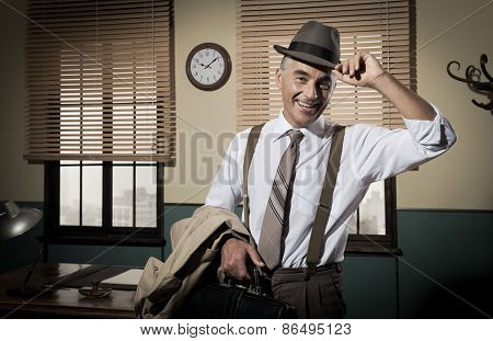 Smiling Businessman Going Home
