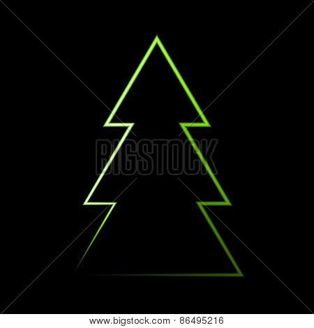 Neon Light Christmas Tree In Vector Format