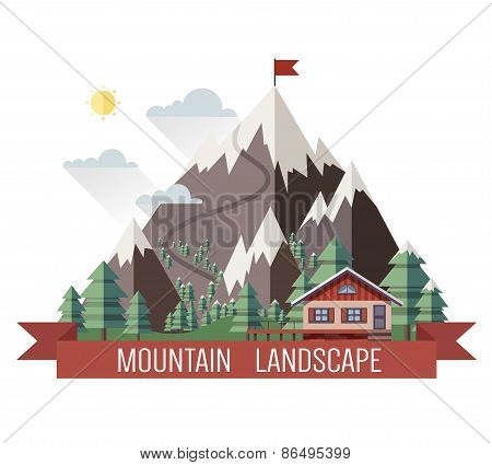 House in mountains. Colorful vector background with ski and mountains