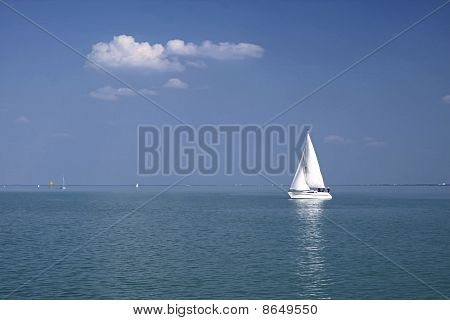 White Sailboat On Lake Balaton