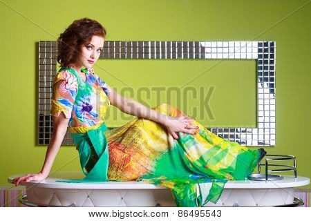 fashionable woman in a autumn color