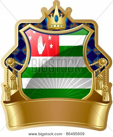 Shield icon with a crown and the flag of Abkhazia
