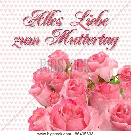 Greeting Card - Alles Liebe Zum Muttertag - Roses