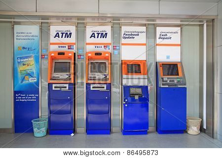 Bangkok Bank Atm, Passbook Update And Cash Deposit