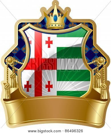 Shield icon with a crown and Project flag of the Autonomous Republic of Abkhazia, a formal administr