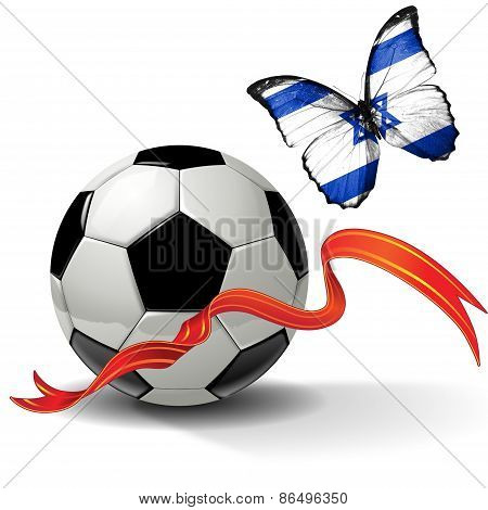 Soccer ball with ribbon and butterfly with the flag of Israel