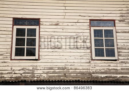 Windows And Old Wooden Wall Of Cottage