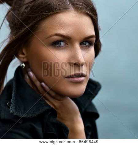 Natural fashionable beauty of a woman face