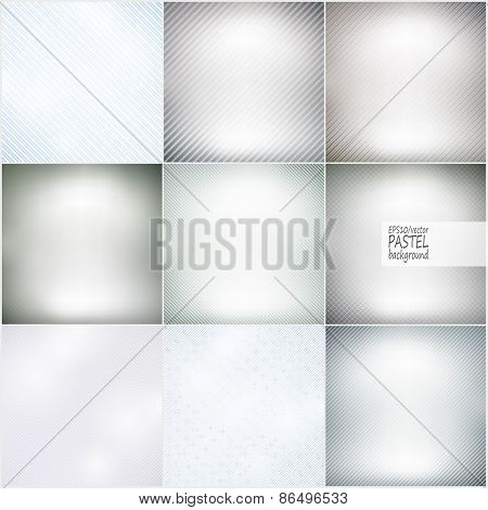 Set of diagonal repeat straight stripes textures, pastel background vector