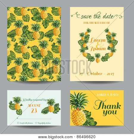 Invitation/Congratulation Card Set - for Wedding, Baby Shower - Vintage Pineapples - in vector