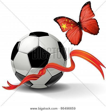Soccer ball with ribbon and butterfly with the flag of China