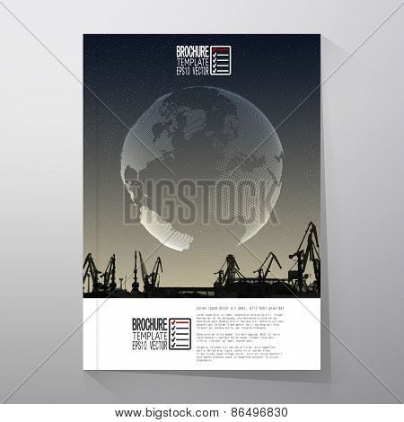 Shipyard, harbor skyline, night design, world globe vector. Brochure, flyer or report for business,