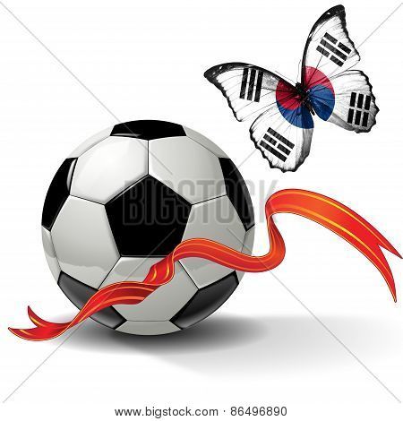 Soccer ball with ribbon and butterfly with the flag of South Korea