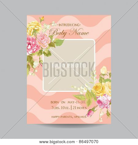Baby Arrival Card with Photo Frame -Blossom Flowers Theme - in vector