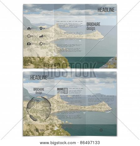 Realistic sea landscape. Brochure, tri-fold flyer or booklet for business. Modern trendy design vect