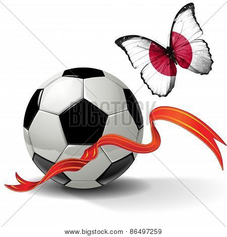 Soccer ball with ribbon and butterfly with the flag of Japan
