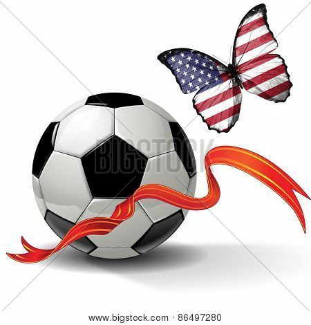 Soccer ball with ribbon and butterfly with the flag of USA