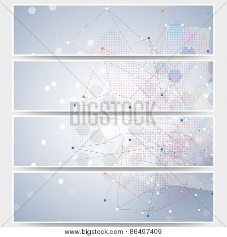 Web banners set, molecular design header layout templates. Molecule structure, blue background for c
