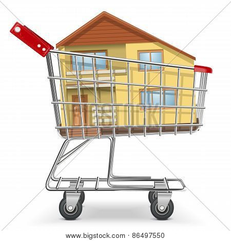 Vector Cart With Cottage