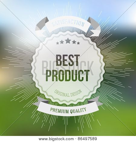 Best product sticker isolated on blurred background with vintage style star burst, retro element for