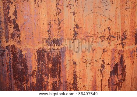 Old Stain Orange Zinc Wall