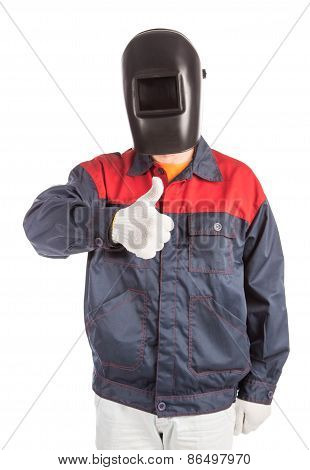 Welder in workwear suit.