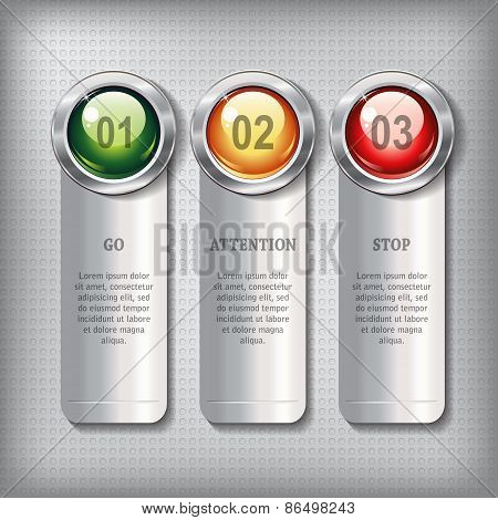 Set Of Metallic Banners With Round Shiny Buttons
