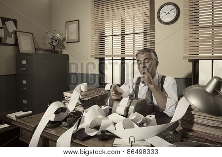 1950S Accountant Checking Calculations