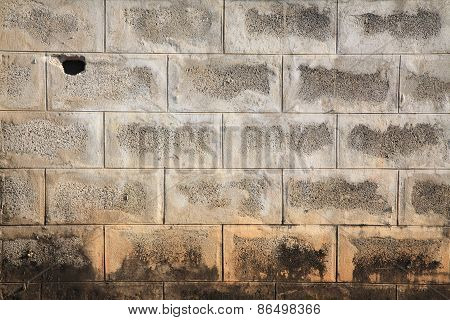 Grunge Broke Concrete Wall Of Old House -