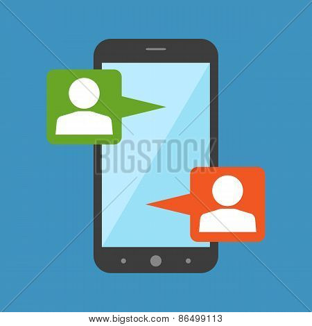 Mobile Chat, Modern Social Interaction Concept. Flat Design.