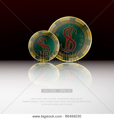 Dollar chips on red-black background