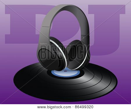 Vinyl and Headphones of Disc Jockey