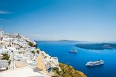 stock photo of architecture  - White architecture on Santorini island Greece. Beautiful landscape with sea view
